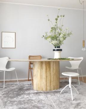 The Poster Club fine art ,Josephine' by Anastasia Benko, marble table, Fritz Hansen Series 7 Monochrome White, Arne Jacobsen chair