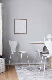 The Poster Club fine art ,Josephine' by Anastasia Benko, marble table, Peill & Puzler lamp, Fritz Hansen Series 7 Monochrome White, Arne Jacobsen chair
